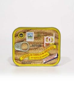 Filetes de Caballa de Andalucía. Aceite de Girasol Piñero y diaz 237 grs.