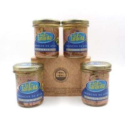 pack 4 tarros de cristal de troncos de atún La Tarifeña